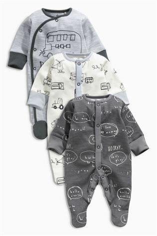 UK Next - Babygro Boys 3 pack - Grey Transport