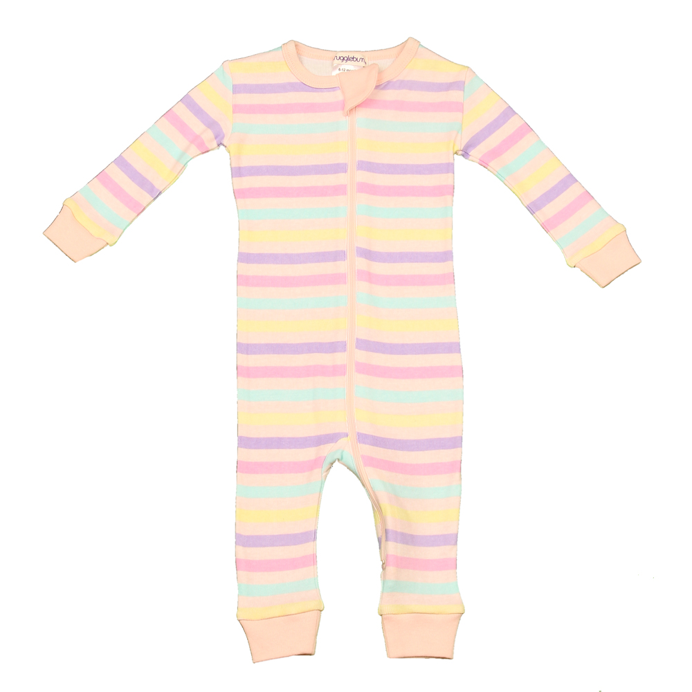 Snugglebum Footless Babygro - Soft Pastel Stripe