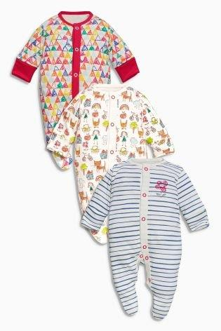 UK Next - Babygro Girls 3 pack - Scribble Cats
