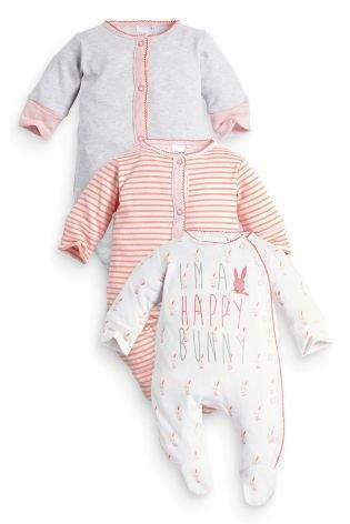 UK Next - Babygro Girls 3 pack - Happy Bunny