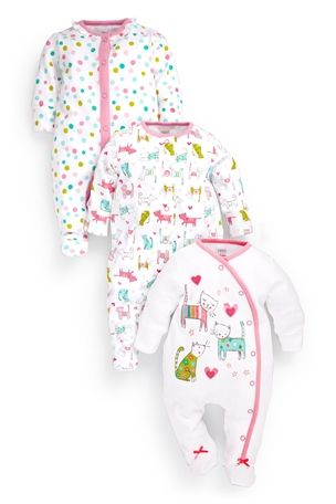 UK Next - Babygro Girls three pack - Cat Print - 18-24mths